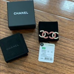 Chanel Golden Pink Crystal Earrings
